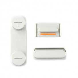 Lot de 3 Boutons : Power, Silencieux, Volume - iPhone 5 Blanc