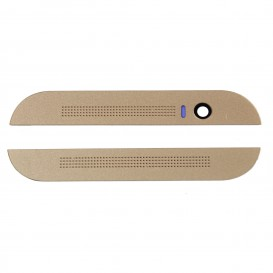 Top and bottom front plastic housing (gold) - HTC One M8